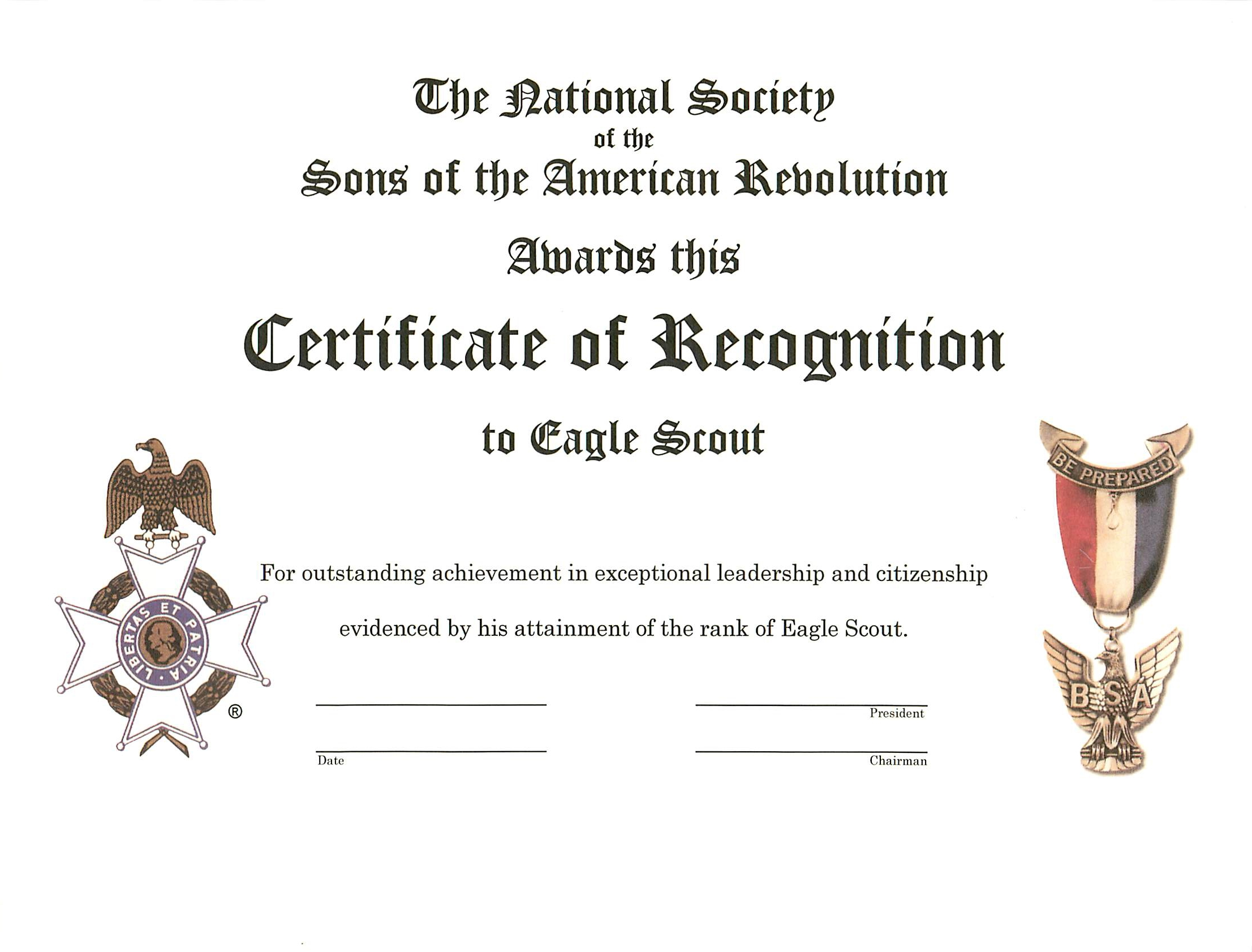 Eagle Scout Recognition Certificate | Utah Society Sons of the ...